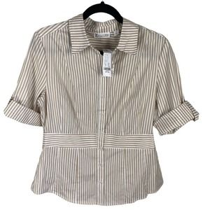 New York & Co. Tan and White Striped Button Up M